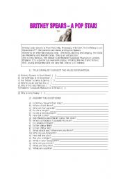 English Worksheet: Britney Spears - a famous pop star