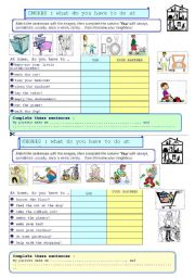 English Worksheet: PAIR-WORK - what do you have to do at home?