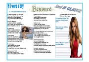English Worksheet: If I were a Boy - Beyonce - Second If clause
