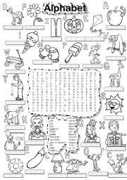 English Worksheets: ALPHABET WORDSEARCH and LETTER TILES
