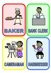 English Worksheet: 20 flash-cards: JOBS & PROFESSIONS (1/3)