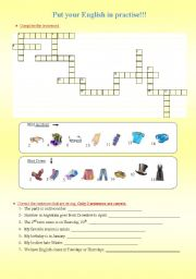 English Worksheet: clothes crossword, error correction, IN/ AT/ ON, ONE/ONES, e-mail about a favourite festival