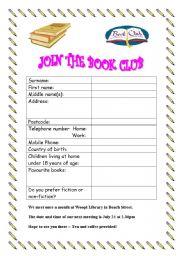 English Worksheets: Form filling