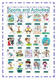 English Worksheet: Sports and activities (pictionary and puzzle)