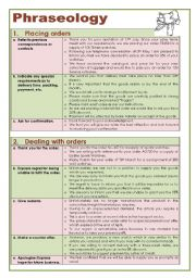 English Worksheets: Business English: Placing Orders (Phraseology)