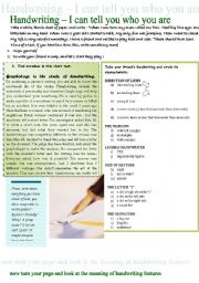 English Worksheet: Handwriting - people�s character features