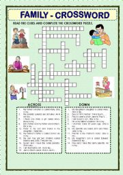 English Worksheet: FAMILY  - CROSSWORD