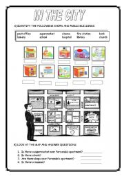 English Worksheet: IN THE CITY: THERE + BE/ SHOPS AND PUBLIC BUILDINGS/ GIVING DIRECTIONS