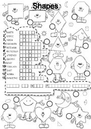 English Worksheet: SHAPES PUZZLE and FALLEN PHRASE