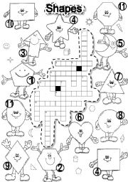 English Worksheets: SHAPES CRISS CROSS PUZZLE