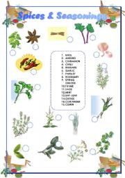 English Worksheet: Spices  and Seasonings - Matching + Answer Key