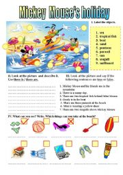 English Worksheet: MICKEY MOUSE�S HOLIDAYS