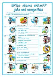 English Worksheet: WHO DOES  WHAT?  -  Describing jobs and occupations