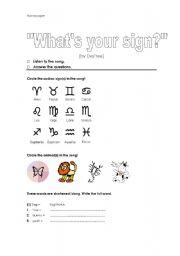 English Worksheet: Horoscope - Zodiac Song - Listening Exercise