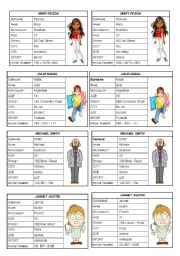 English Worksheets: VERB TO BE: PERSONAL INFORMATION (SPEAKING CARDS) 1