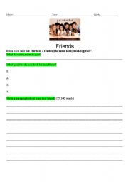 English Worksheets: Writing Prompt_Friends