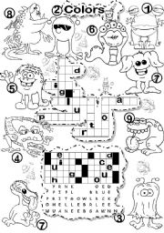 English Worksheet: BASIC COLORS CRISS CROSS PUZZLE AND FALLEN PHRASE