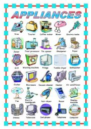 English Worksheets: APPLIANCES - PICTIONARY