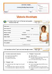 Victoria Beckham and The Spicd Girls Comeback Concert Tour  -  Listening + Reading Test/Worksheet for Intermediate Students