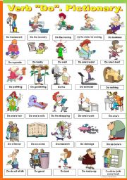 English Worksheet: VERB �DO�. PICTIONARY