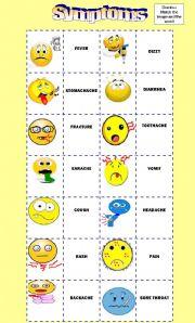 English Worksheet: Symptoms Domino