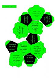 English Worksheet: Conversation Soccer Ball for Kids 1 (32 questions with mini-cards and additional questions, black and white version also included)