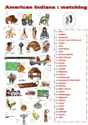 English Worksheet: INDIANS MATCHING
