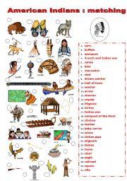 English Worksheet: INDIANS MATCHING