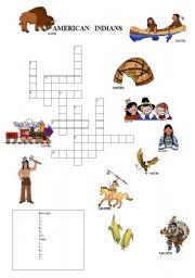 English Worksheet: indians crosswords