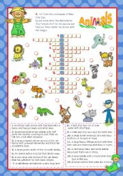 English Worksheets: Zoo friends crossword puzzle