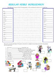 English Worksheet: REGULAR VERBS WORDSEARCH