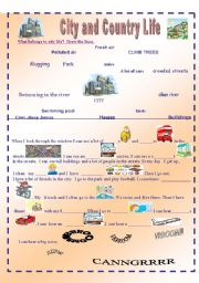 English Worksheet: CITY AND COUNTRY LIFE 1