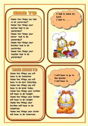 English Worksheet: MODAL VERBS HAD TO AND WILL HAVE TO