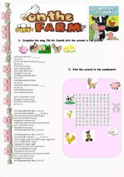 English Worksheets: Farm animals and the Old MacDonalds song