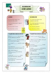 English Worksheets: Borrow and Lend