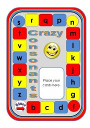 Crazy Consonants Game with Dice Cards (Black and White Version Included)