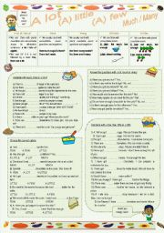 English Worksheets: (A) little, (A) few, a lot, much, many