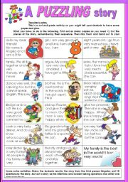 English Worksheet: a PUZZLING story, or story in PUZZLES