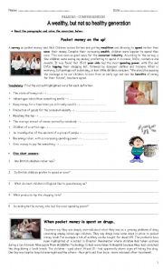 English Worksheet: Reading Comprehension - Pocket Money