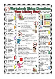 English Worksheets: Giving Directions (With Answer Key)