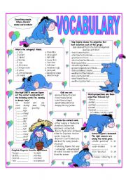 English Worksheet: RECYCLING VOCABULARY - TOPIC: DESCRIBING THINGS -PEOPLE - PHYSICAL STATES & EMOTIONS - Elementary & up.