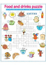 English Worksheet: FOOD AND DRINKS-PUZZLE PART 2!