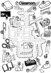 English Worksheet: SCHOOL CRISS CROSS PUZZLE and LETTER TILES