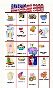 English Worksheet: PART 1 ,  20 American Food flashcards, more on sweets