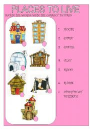 english worksheets places to live kind of houses. Black Bedroom Furniture Sets. Home Design Ideas
