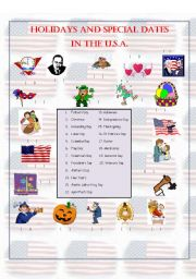 Holidays and Special Dates in the USA - 2 (Matching Activity)