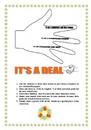 It´s a deal    Activity for the first day of school