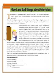 English Worksheet: Good and bad things about television