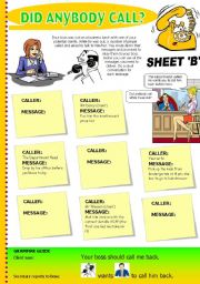 English Worksheets: Did anybody call? Sheet B (INFORMATION GAP) Business English: Taking messages on the phone