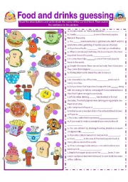 English Worksheet: FOOD AND DRINKS GUESSING WITH SOME FACTS!